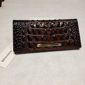NWT BRAHMIN ADY WALLET COCOA MELBOURNE